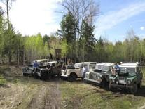 Land Rovers in Woods